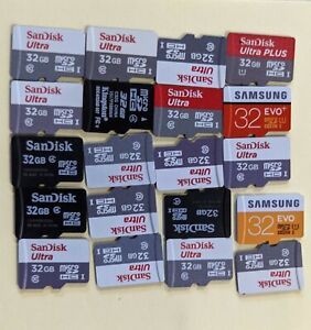Lot of 20 - 32GB MicroSDHC micro sd Cards Various Brands