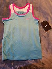 Nike girls blue dri-fit tank top w/ white & pink symbol  size 4T nwt