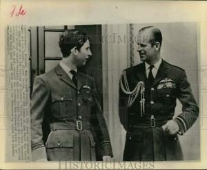 1971 Press Photo Prince Charles with father Prince Philip in Cranwell, England