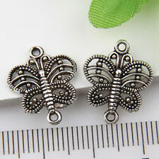 50Pcs Tibetan Silver Butterfly Pendants Charms Connector 17*14mm