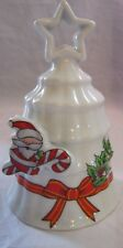 """4 1/4"""" China Christmas Dinner w Elf, Ribboin, Holly & White Background Bell"""