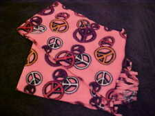 ✔✔PEACE SIGN SCARF ✔✔PINK lightweight polyester HIPPIE BOHO fashion warm winter
