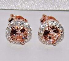 9ct Rose Gold on Silver Morganite & White Topaz Ladies Cluster Stud Earrings