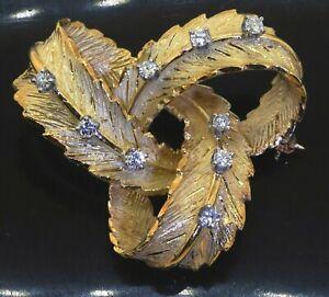 Italian designer 18K yellow gold 0.36CT diamond feather ribbon wreath brooch