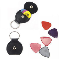 Faux Leather Keychain Guitar Pick Holder Plectrum Bag Black Case LWC