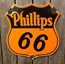 Vintage Phillips 66 Oil Gas Station Porcelain Pump Plate Garage Sign