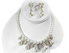 """16"""" Adjustable White Pearl Beaded & Silver Toned Necklace With Clip-On Earrings"""