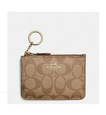 NWT Coach Signature Key Pouch Wallet PVC Khaki/Saddle F63923 $65