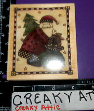SANTA CLAUS AND TEDDY VINTAGE RUBBER STAMP STAMPINGTON
