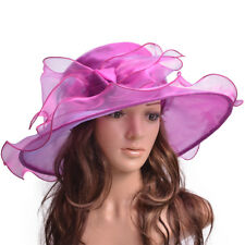Big Bow Formal Dress Womens Kentucky Derby Hat Wide Brim Church Organza A454