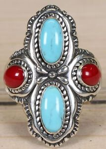 Carolyn Pollack Relios Sterling Silver Turquoise and Coral Size 9 Ring 267A