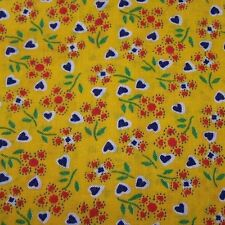 PC VINTAGE COTTON FABRIC-BOLD DARK YELLOW-HEART FLOWERS-SMALL PRINT-QUILT