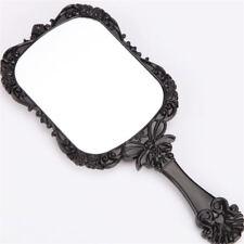 Women Retro Butterfly Hand Held Mirror Makeup Dresser Portable Square Mirror