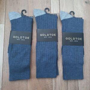GOLDTOE 3 Pair Men's Ribbed Texture Crew Dress Socks Shoe Size 6-12.5