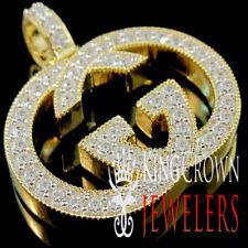 Custom Piece Real 10K Yellow Gold On Silver Designer Charm Simu Diamond Pendant