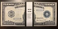 $10,000 In 1918 $500 Bills Prop/Play Money USA WWI Actual Size John Marshall