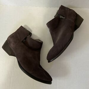 Seychelles Los Angeles Brown Suede Leather Faux Fur Lined Zip Ankle Booties 7.5