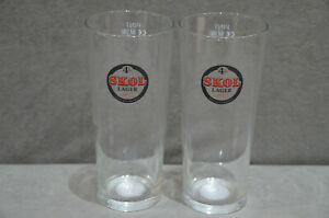 2x Skol 4% Lager One Pint 20oz Beer Glass Toughened & Enamel Nucleated New M09