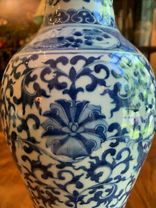 A Large Chinese Qing Dynasty Blue and White Porcelain Dragon Vase, Marked.