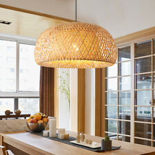 Craft Bamboo Wicker Rattan Pendant Light LED Chandelier Hanging Ceiling Fixture