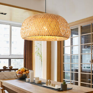 Vintage Bamboo Wicker Rattan Lantern Pendant Light Fixture Hanging Ceiling Lamp