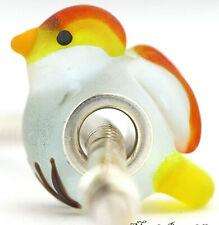 SEA GLASS BIRD animal glass charm bead Mandy Ramsdell sterling silver european