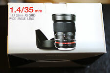 Samyang 35mm F1.4 Wide Angle UMC Lens for Canon EOS SYAE35M-C AE Chip