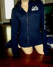 Hollister HCO navy blue fitted cotton long sleeve zip-up hoody- Size L