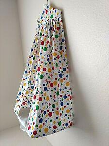 Vtg White Multi Primary Colored Circles Diaper Stacker Circus Theme Nursery