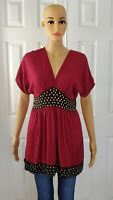 Angie Women's short Sleeve Loose Tunic Peasant Blouse Top Sz L Red Boho