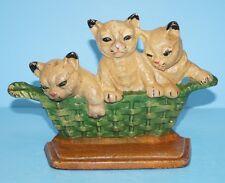 ANTIQUE KITTENS CATS BASKET CAST IRON DOORSTOP LANCASTER PA DATED 1932