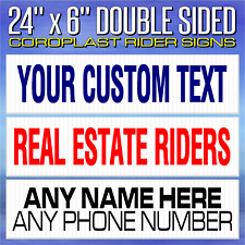 10 custom REAL ESTATE realtor rider signs - on white 4mm corrugated plastic
