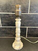 "Antique Vtg White Marble Stone Alabaster Table Lamp Art Deco Small Boudoir 11.5"""