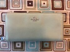 Preowned Coach Crossgrain Large Zip Around Accordion Wallet SEAFOAM GREEN