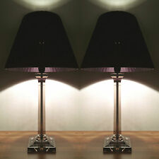 PAIR of NEW Bedside Table DESIGNER MODERN LAMPS with Black Ribbon Round Shade