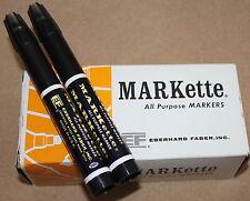 2 Nos Vintage Eberhard Faber Markette 680 All Purpose Markers Black Ink
