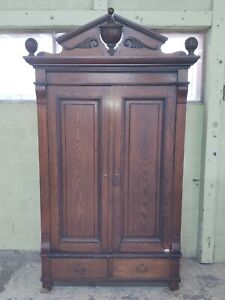 Antique Victorian Knockdown Armoire Wardrobe Cabinet, 2 Drawers, Pickup Only