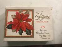 Vintage Empty Christmas Card Box with Poinsettia The elegance asst Hawthorne