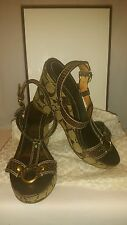 Coach Women's Brown Brand Wedge Python Strap Size 6B Heel Sandals
