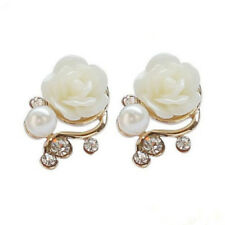 Women Cute Style Stud OL Jewelry Rose Flower Pearl Earrings Fashion Crystal