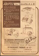 LEVALLOIS PUBLICITE ETS O. LECANU DESCHAMPS GALERIES POUR AUTOMOBILES 1948