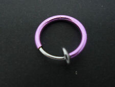 A  PURPLE COLOUR  FAKE  LIP EAR  NOSE RING. 12MM. NEW.