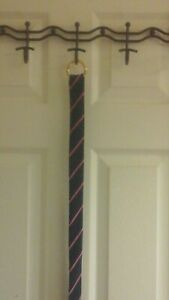 """Ralph Lauren,  Women's polyester belt, Blue Pink Stripes, Gold Buckle 42"""" long"""