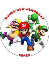 """Super Mario 7.5"""" Rice Paper Birthday Cake Topper SMC3"""
