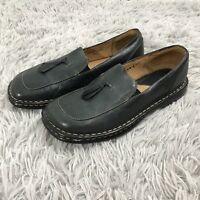 8 39 M/W BORN M Dark Green SHOES W/TASSELS Slip On Loafers Leather Flats
