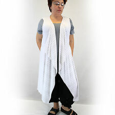 NEW Chalet Plus Size Lagenlook Bamboo Vest White Striped Blouse 1X USA Made