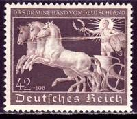 THIRD REICH Mi. #747 scarce mint Braunes Band Horse Race stamp! CV $36.00