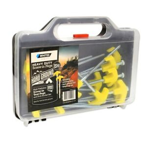 Whites Wires Screw In Tent Pegs, Electro-Galvanised Finish Strong Holding 15 Pck