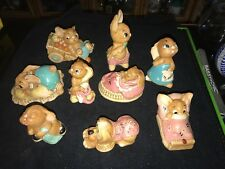 Vintage Lot of (9) Pendelfin Rabbit Figures Poppet Pooch Wakey Robert more