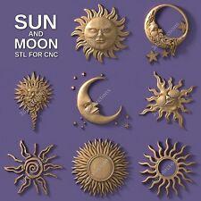 3d stl model cnc router artcam aspire 8 pcs sun moon collection basrelief